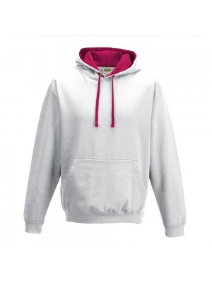 contrast Arctic White/ Hot Pink Hoodie