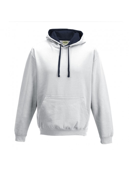 contrast Arctic White/ French Navy Hoodie