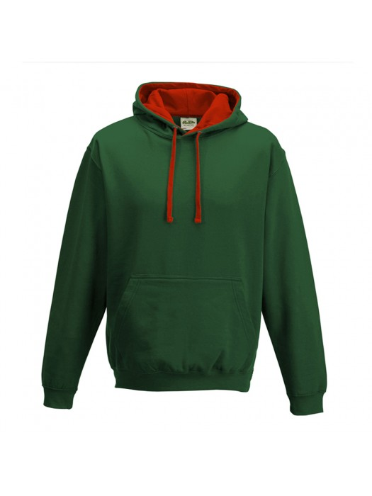 contrast Bottle Green/ Fire Red Hoodie