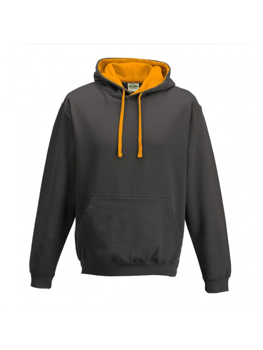 contrast Charcoal/ Orange Crush Hoodie