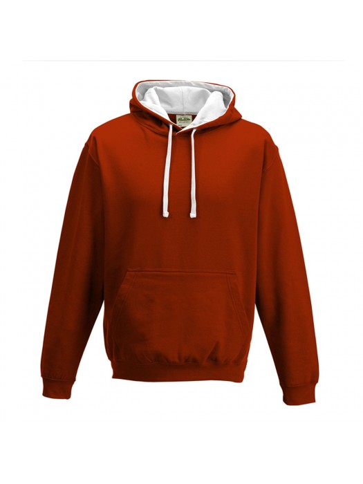 contrast Fire Red/ Arctic White Hoodie