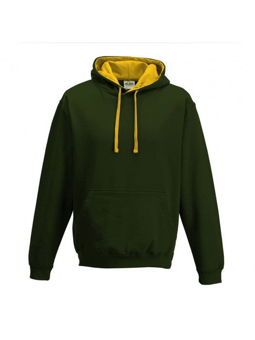 contrast Forest Green/ Gold Hoodie