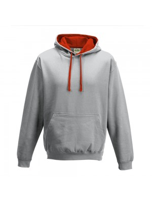 contrast Heather Grey/ Fire Red Hoodie