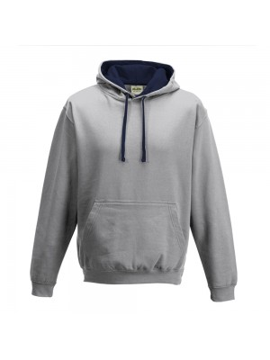 contrast Heather Grey/ French Navy Hoodie
