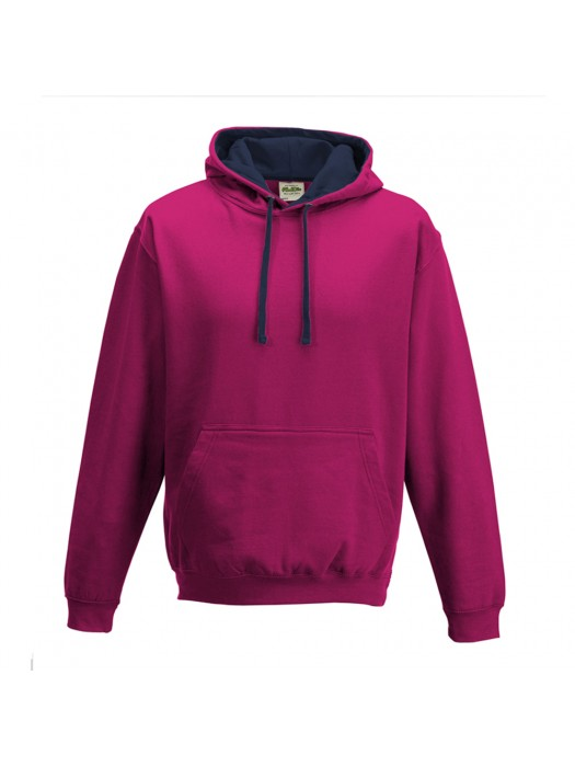contrast Hot Pink/ French Navy Hoodie