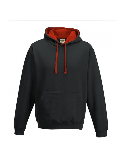 contrast Jet Black/ Fire Red Hoodie