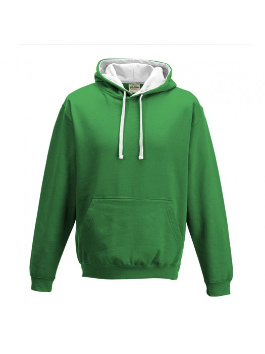 contrast Kelly Green/ Arctic White Hoodie