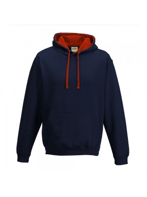 contrast French Navy/ Fire Red Hoodie