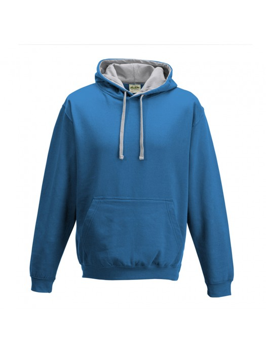 contrast Sapphire Blue/ Heather Grey Hoodie