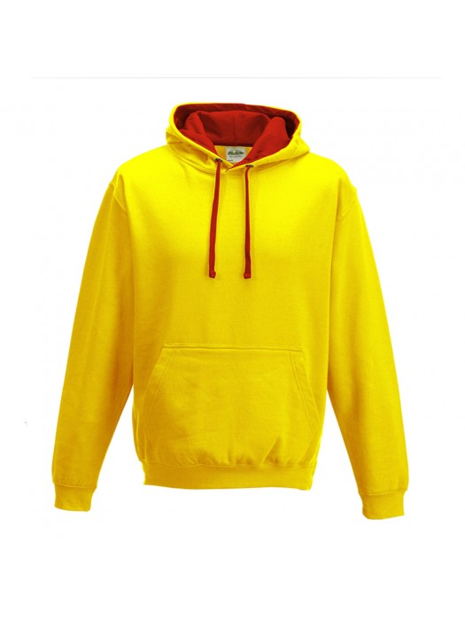 contrast Sun Yellow/ Fire Red Hoodie