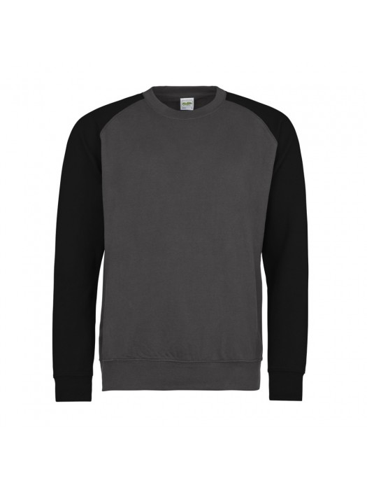 AWD Contrast Baseball Charcoal/Black Grey Crew Neck Sweatshirt