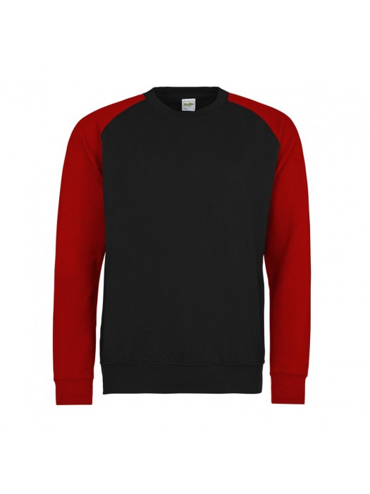 AWD Contrast Baseball Black/Red Crew Neck Sweatshirt