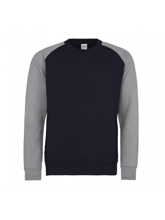 AWD Contrast Baseball Oxford Navy/ Heather Grey Crew Neck Sweatshirt