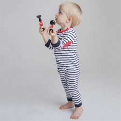 Plain BABY LONG SLEEVE STRIPED BODYSUIT LARKWOOD 160 GSM
