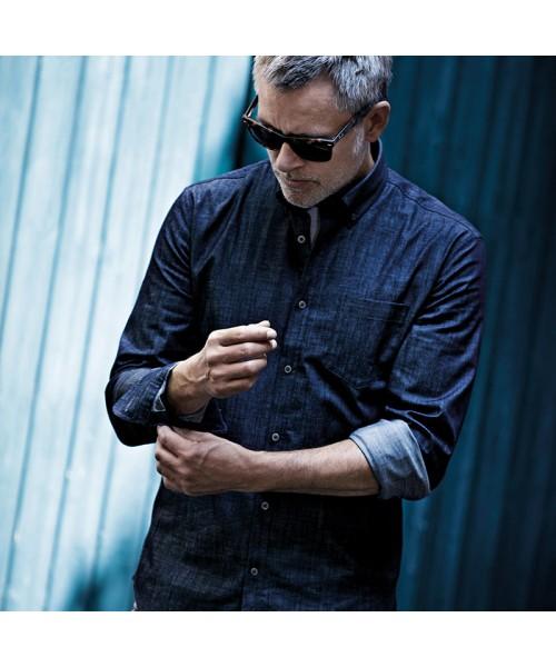 Plain Mens Torrance denim shirt NIMBUS 190 GSM