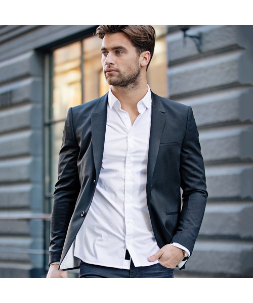 Plain Mens Brentwood casual stretch business shirt NIMBUS 115 GSM