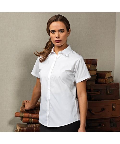 Plain Women's supreme poplin short sleeveshirt PREMIER 125 GSM