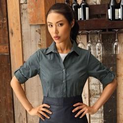 Plain Women's poplin cross-dye roll sleeveshirt PREMIER 105 GSM