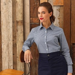Plain LADIES MICROCHECK LONG SLEEVE SHIRT PREMIER 105 GSM
