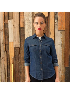 Plain LADIES JEANS STITCH DENIM SHIRT PREMIER 127 GSM
