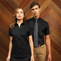 Plain Women's signature Oxford short sleeve shirt PREMIER 135 GSM