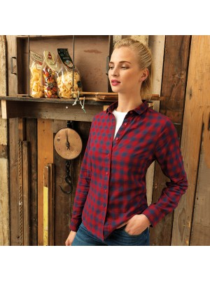 Plain Women's Mulligan check cotton long sleeve shirt PREMIER 115 GSM
