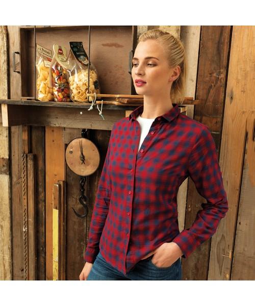 Plain Women's Mulligan check cotton long sleeveshirt PREMIER 115 GSM