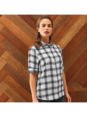 Plain Women's Ginmill check cotton long sleeve SHIRT PREMIER 115 GSM