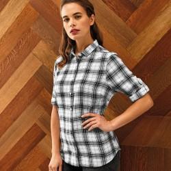 Plain Women's Ginmill check cotton long sleeve SHIRT PREMIER 115 GSM