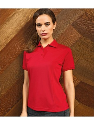 Plain LADIES COOLCHECKER® PLUS PIQUÉ POLO SHIRT PREMIER 185 GSM