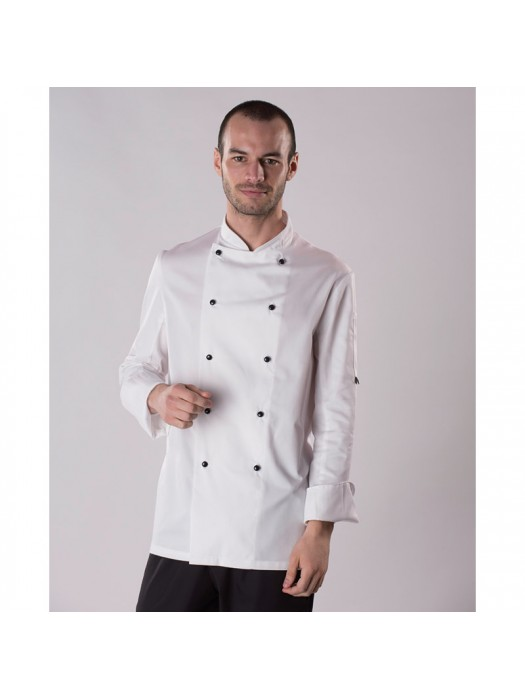 Plain chef's jacket Long sleeve chef's jacket with removable studs (DD20) Dennys LONDON 200 GSM