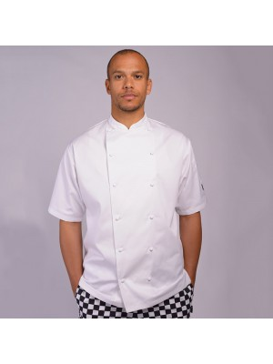 Plain jacket Short sleeve executive jacket with cap studs  lechef PROFESSIONAL 200 GSM