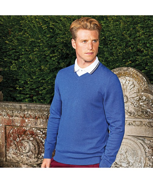 Plain sweater Men's cotton blend v-neck Asquith and Fox 12 Gauge