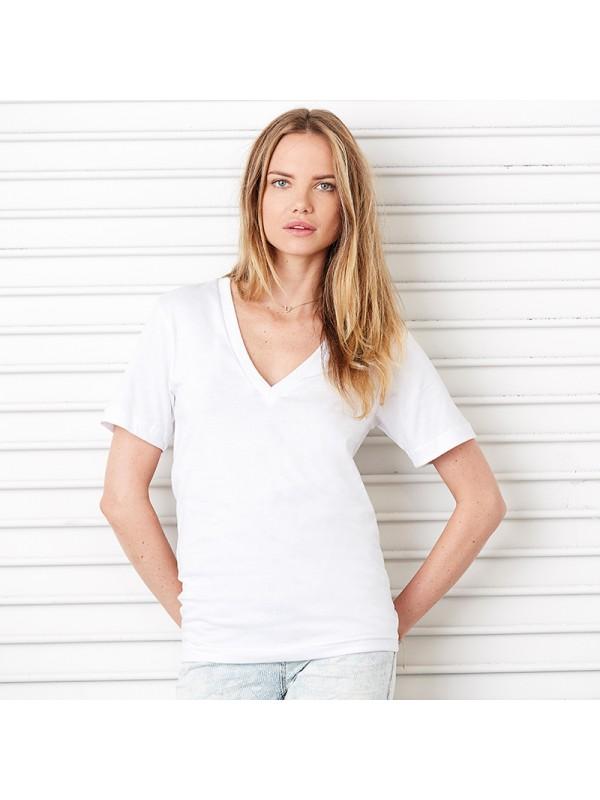 Plain Deep V Neck T Shirt Unisex Jersey Bella Canvas 145 Gsm