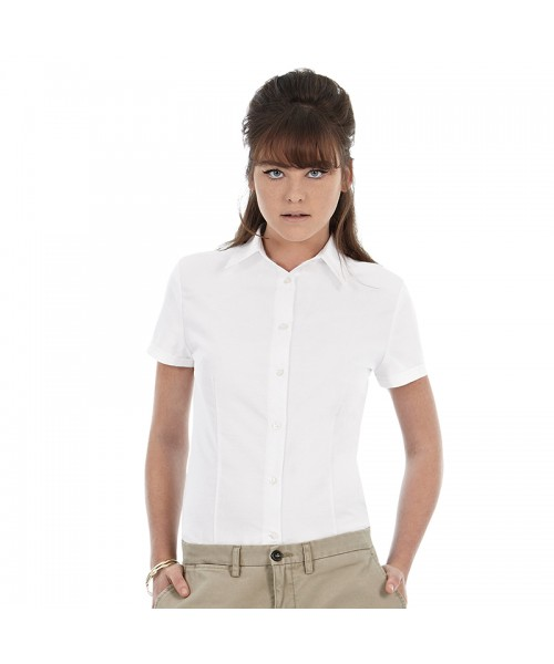 Plain Oxford short sleeve /women B&C 135 GSM