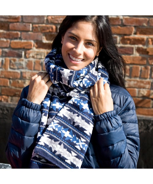 Plain Fair Isles Double Layer Jacguard Scarf RESULT WINTER ESSENTIALS