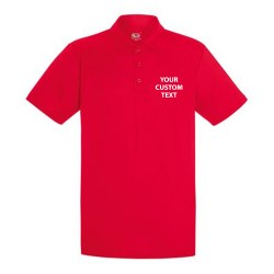 Personalised Polo Shirts Performance Fruit of the Loom 140gsm with custom text Embroidery or logo