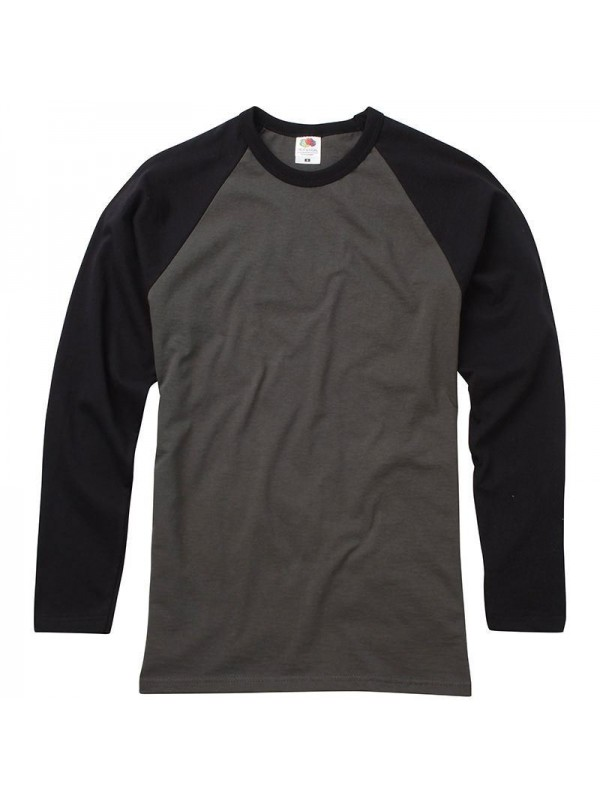 Fruit of the Loom Contrast Long Sleeve Baseball T-Shirt All Sizes and Colours