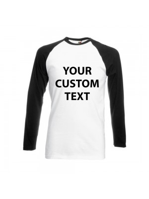 Personalised T Shirt Contrast Long Sleeve Baseball Fruit of the loom White 160gsm, Colours 165gsm with custom design printed