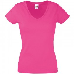 Personalised T Shirt Lady Fit Value V Neck Fruit of the loom White 160gsm, Colours 165gsm with custom design printed