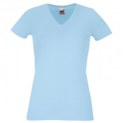 Personalised T Shirt Lady Fit V Neck Fruit of the loom White 200gsm, Colours 210gsm with custom design printed