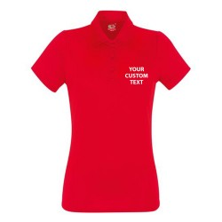 Personalised Polo Shirts Lady Fit Performance Fruit of the Loom 140gsm with custom text Embroidery or logo