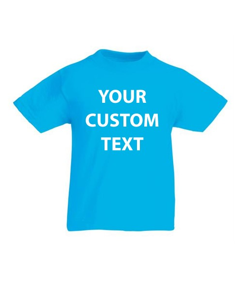 Personalised T Shirt Kids Original Fruit of the loom White 135 gsm Cols 145 with custom design printed