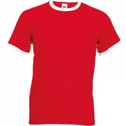 Personalised T Shirt Contrast Ringer Fruit of the loom White 160gsm, Colours 165gsm with custom design printed