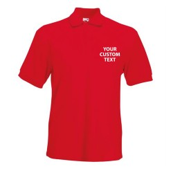Personalised Polo Shirts 65/35 Heavy Pique Fruit of the Loom White 220gsm, Colours 230gsm  with custom text Embroidery or logo