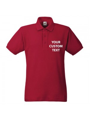 Personalised Polo Shirts Heavy Pique Fruit of the Loom White 230gsm, Colours 240gsm with custom text Embroidery or logo