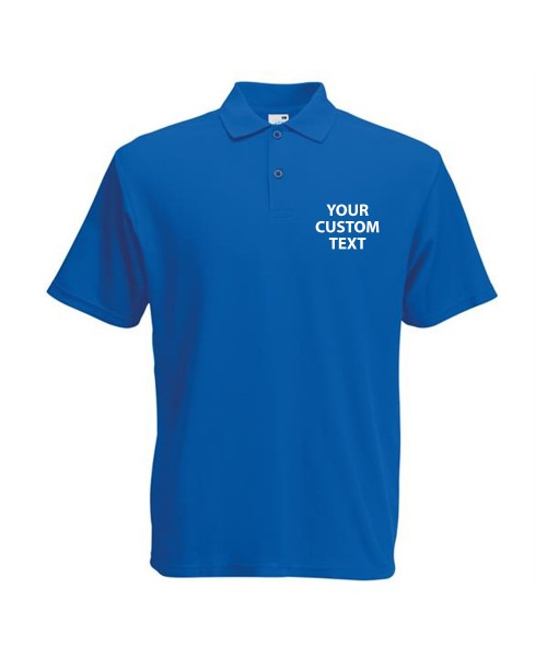 Personalised Polo Shirts Screen Stars Original Pique Fruit of the Loom White 170gsm, Colours 180gsm with custom text Embroidery or logo