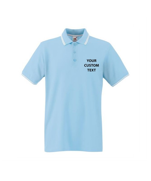 Personalised Polo Shirts Premium Tipped Pique Fruit of the Loom White 170gsm, Colours 180gsm with custom text Embroidery or logo