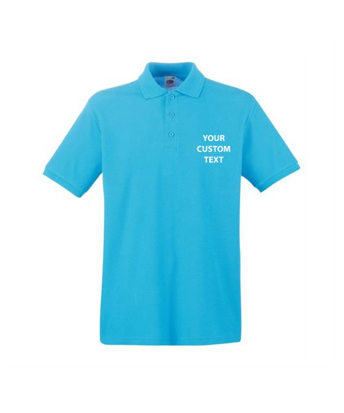 Personalised Polo Shirts Premium Pique Fruit of the Loom White 170gsm, Colours 180gsm with custom text Embroidery or logo