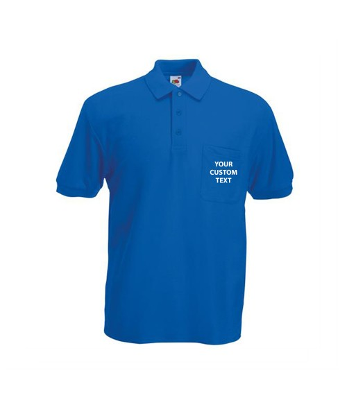 Personalised Polo Shirts Pocket Pique Fruit of the Loom White 170gsm, Colours 180gsm with custom text Embroidery or logo